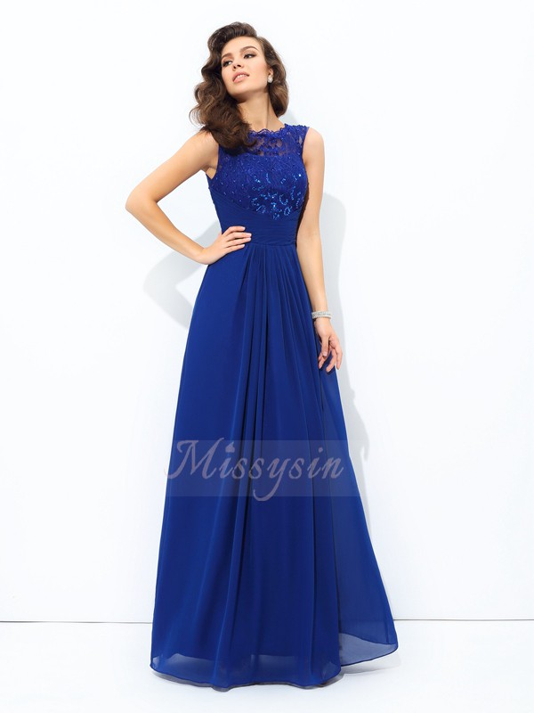 A-line/Princess Sleeveless Scoop Chiffon Floor-length Dresses