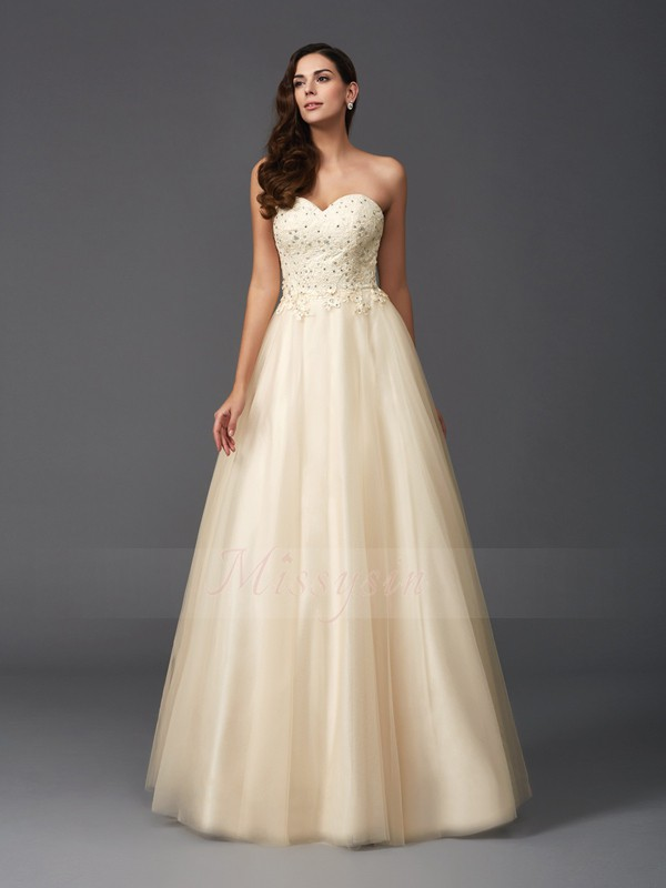 A-Line/Princess Sleeveless Sweetheart Beading Net Floor-Length Dresses