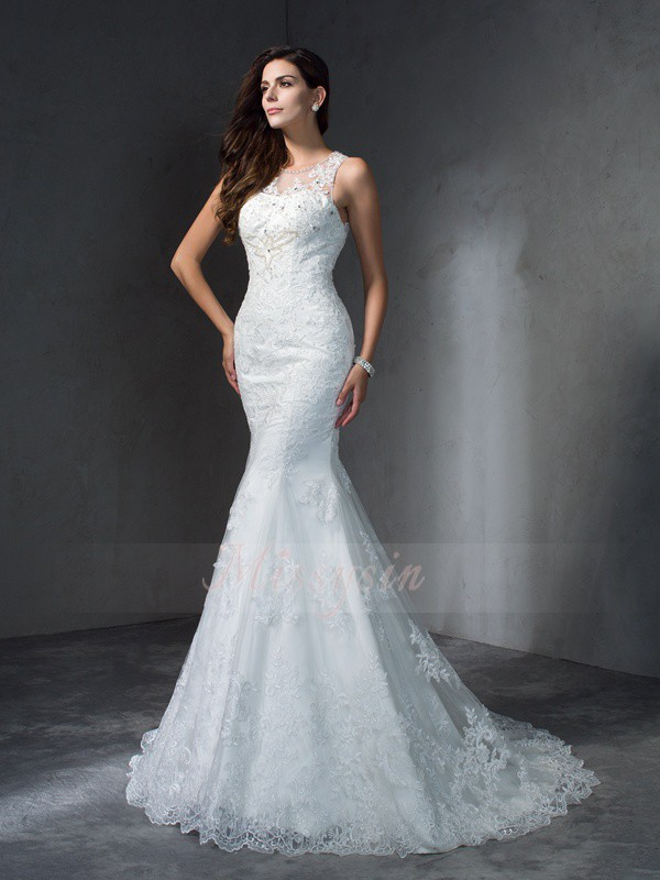 Trumpet/Mermaid Sleeveless Scoop Applique Lace Court Train Wedding Dresses