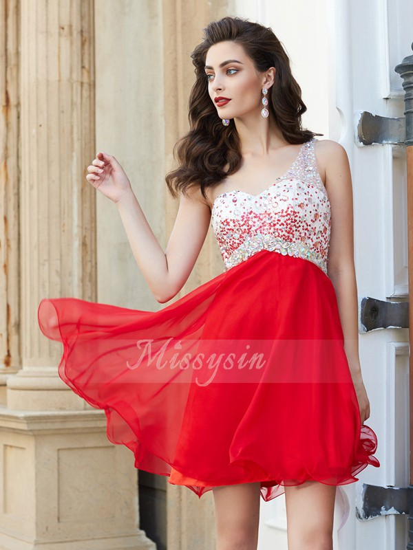 A-Line/Princess One-Shoulder Chiffon Short/Mini Beading Sleeveless Dresses