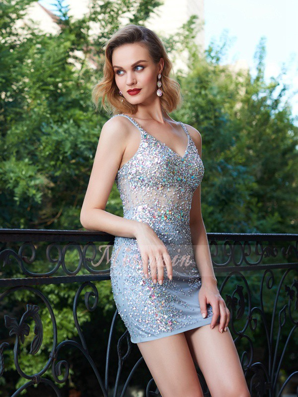Sheath/Column Spaghetti Straps Net Short/Mini Sequin Sleeveless Dresses