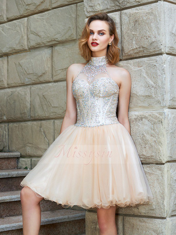 A-Line/Princess Halter Net Short/Mini Beading Sleeveless Dresses