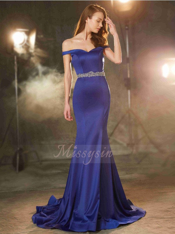 Trumpet/Mermaid Sweep/Brush Train Off-the-Shoulder Satin Crystal Sleeveless Dresses