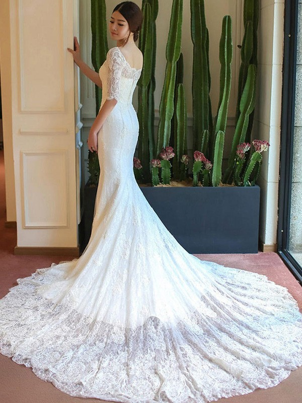 Trumpet/Mermaid 1/2 Sleeves Cathedral Train Square Applique Lace Wedding Dresses