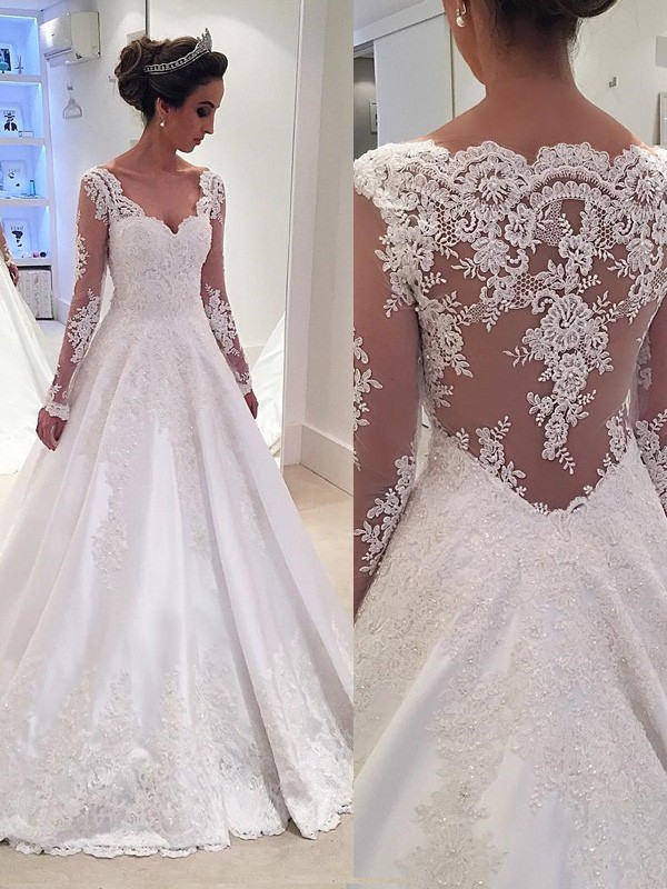Ball Gown V-neck Long Sleeves Satin Court Train Wedding Dresses