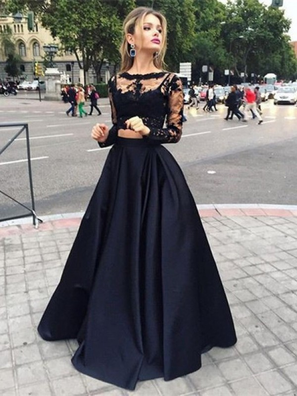 Ball Gown Long Sleeves Bateau Satin Beading Floor-Length Dresses