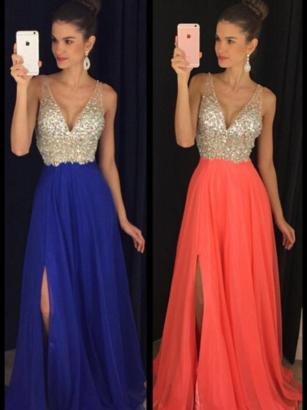 A-Line/Princess Sleeveless V-neck Chiffon Beading Floor-Length Dresses