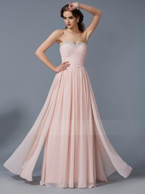 A-Line/Princess Sleeveless Pleats Chiffon Sweetheart Floor-Length Dresses