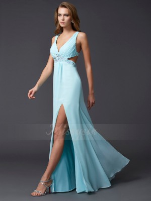 Sheath/Column Sleeveless Beading Chiffon V-neck Floor-Length Dresses