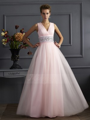 Ball Gown Sleeveless Beading Net V-neck Floor-Length Dresses