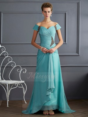 A-Line/Princess Sleeveless Beading Chiffon Off-the-Shoulder Sweep/Brush Train Dresses