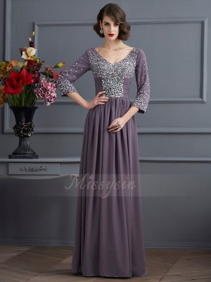 Sheath/Column 3/4 Sleeves Beading Chiffon V-neck Floor-Length Dresses