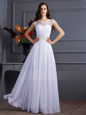 A-Line/Princess Short Sleeves Beading Chiffon Bateau Floor-Length Dresses