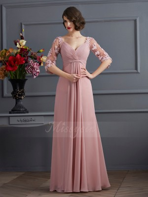 A-Line/Princess 1/2 Sleeves Beading,Applique Chiffon Sweetheart Floor-Length Dresses
