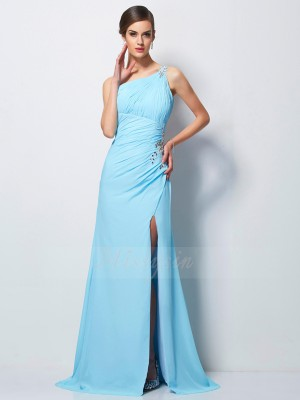 Sheath/Column Sleeveless Beading Chiffon One-Shoulder Sweep/Brush Train Dresses