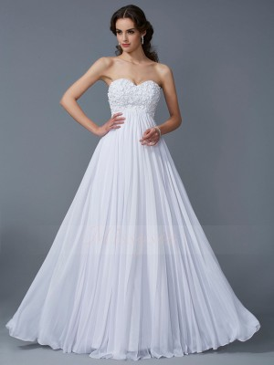A-Line/Princess Sleeveless Ruffles Chiffon Sweetheart Floor-Length Dresses