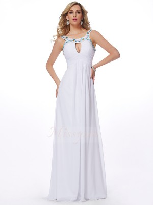 Sheath/Column Sleeveless Beading Chiffon Scoop Sweep/Brush Train Dresses