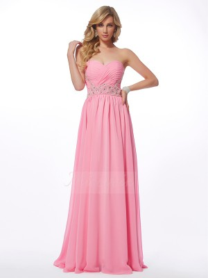 A-Line/Princess Sleeveless Applique Chiffon Sweetheart Floor-Length Dresses