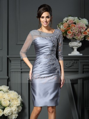 Sheath/Column Scoop Satin Beading 1/2 Sleeves Knee-Length Mother of the Bride Dresses
