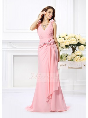 Trumpet/Mermaid V-neck Chiffon Hand-Made Flower Sleeveless Sweep/Brush Train Bridesmaid Dresses