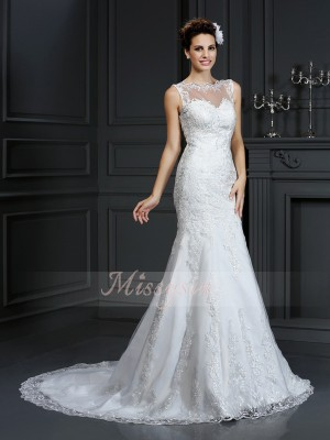Sheath/Column Bateau Satin Sleeveless Court Train Wedding Dresses