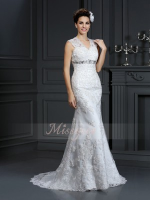 Sheath/Column V-neck Lace Beading Sleeveless Sweep/Brush Train Wedding Dresses