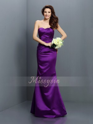 Trumpet/Mermaid Strapless Satin Pleats Sleeveless Floor-Length Bridesmaid Dresses