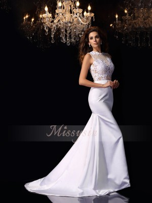 Trumpet/Mermaid High Neck Satin Applique Sleeveless Chapel Train Wedding Dresses
