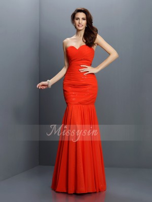 Trumpet/Mermaid Sweetheart Chiffon Pleats Sleeveless Floor-Length Bridesmaid Dresses