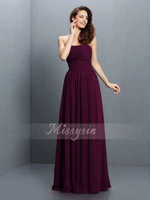 A-Line/Princess Strapless Chiffon Pleats Sleeveless Floor-Length Bridesmaid Dresses