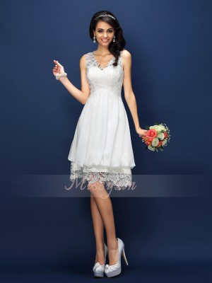 A-Line/Princess V-neck Lace Sleeveless Short/Mini Bridesmaid Dresses