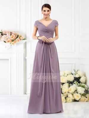 A-Line/Princess V-neck Chiffon Pleats Short Sleeves Floor-Length Bridesmaid Dresses