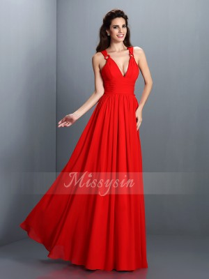A-Line/Princess V-neck Chiffon Pleats Sleeveless Floor-Length Dresses