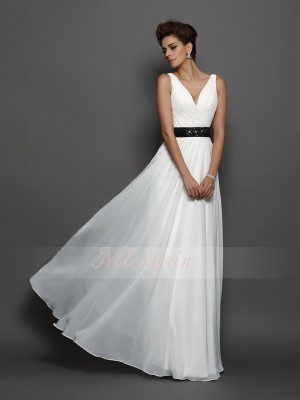 A-Line/Princess V-neck Chiffon Sash/Ribbon/Belt Sleeveless Floor-Length Wedding Dresses