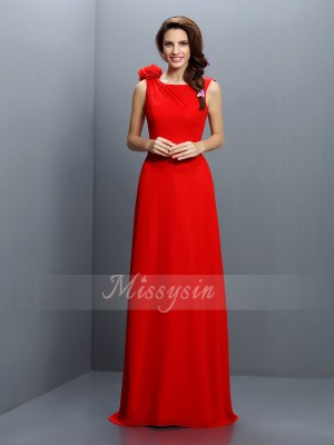 A-Line/Princess Bateau Chiffon Hand-Made Flower Sleeveless Sweep/Brush Train Bridesmaid Dresses