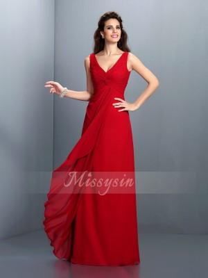 A-Line/Princess Straps Chiffon Pleats Sleeveless Floor-Length Dresses