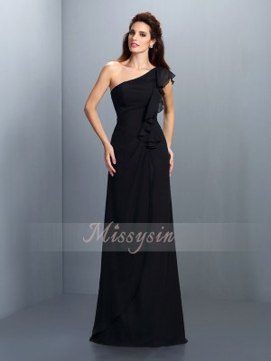 Sheath/Column One-Shoulder Chiffon Pleats Sleeveless Floor-Length Bridesmaid Dresses