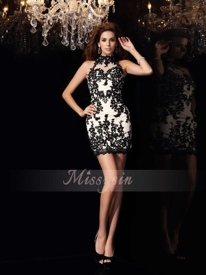 Sheath/Column High Neck Chiffon Beading,Applique Sleeveless Short/Mini Dresses