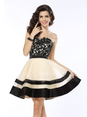 A-Line/Princess Sweetheart Organza Applique Sleeveless Short/Mini Dresses