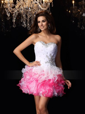A-Line/Princess Sweetheart Organza Ruffles Sleeveless Short/Mini Dresses