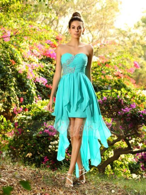 A-Line/Princess Sweetheart Chiffon Beading Sleeveless Asymmetrical Bridesmaid Dresses