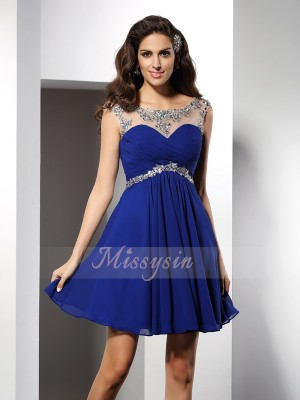 A-Line/Princess Scoop Chiffon Beading Sleeveless Short/Mini Dresses
