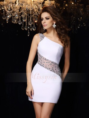 Sheath/Column One-Shoulder Chiffon Beading Sleeveless Short/Mini Dresses