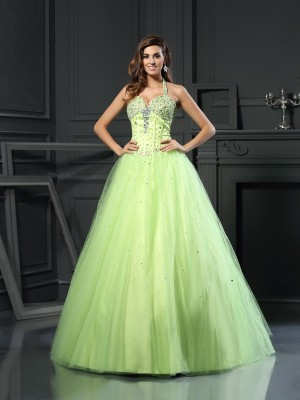 Ball Gown Halter Satin Beading Sleeveless Floor-Length Dresses