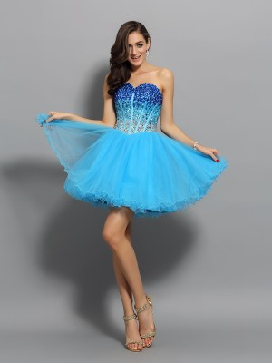 A-Line/Princess Sweetheart Satin Ruffles Sleeveless Short/Mini Dresses