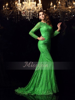 Trumpet/Mermaid High Neck Elastic Woven Satin Applique Sleeveless Court Train Dresses
