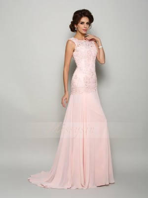 Trumpet/Mermaid Scoop Chiffon Beading,Applique Sleeveless Sweep/Brush Train Mother of the Bride Dresses