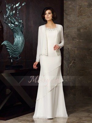 Sheath/Column Scoop Chiffon Beading Sleeveless Floor-Length Mother of the Bride Dresses