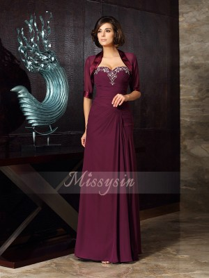 Sheath/Column Sweetheart Chiffon Beading Sleeveless Floor-Length Mother of the Bride Dresses