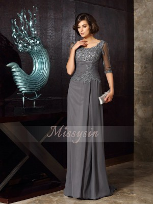 A-Line/Princess Scoop Chiffon Beading,Applique 1/2 Sleeves Sweep/Brush Train Mother of the Bride Dresses